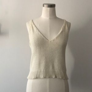 Knitted Double V Crop Top